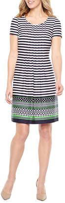 Perceptions Short Sleeve Stripe Shift Dress