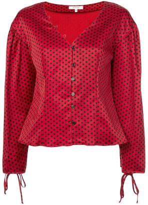 Milly tie cuff polka dot top