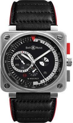 Bell & Ross BR0397-bl-si/sca Aviation steel and leather watch
