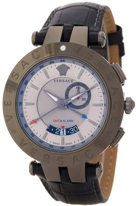Versace Men&s V-Race GMT Round Leather Strap Watch $1,795 thestylecure.com