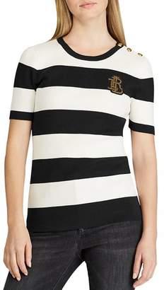 Ralph Lauren Short-Sleeve Striped Sweater