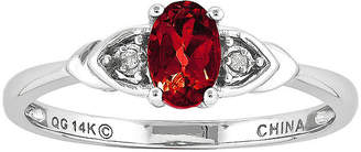 FINE JEWELRY Glass-Filled Oval Ruby and Diamond-Accent 14K White Gold Ring