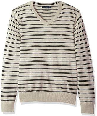 Nautica Men's Standard Long Sleeve Striped Classic V-Neck Sweater