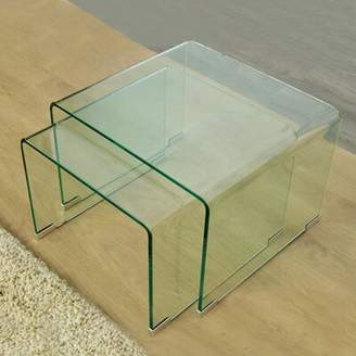 Fab Glass and Mirror 2 Piece Nesting Tables Fab Glass and Mirror