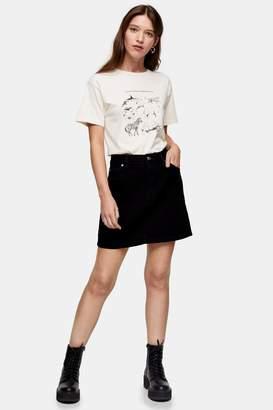 Topshop Womens Black Denim Mini Skirt - Tbc