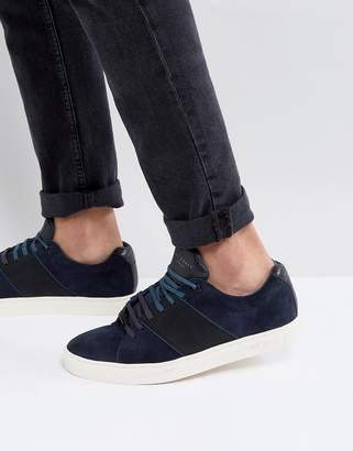 Ted Baker Dannez Suede Trainers In Navy
