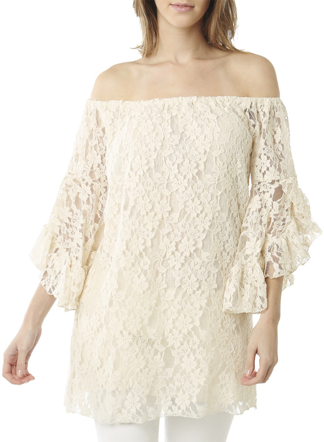 Arden B Off Shoulder Lace Tunic