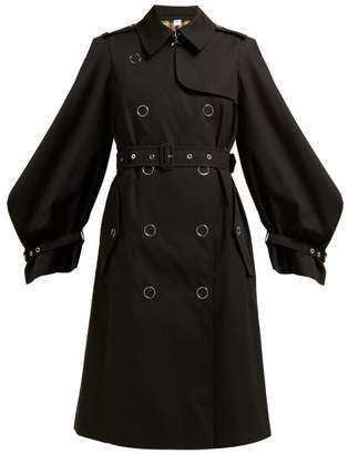 Burberry Double Breasted Cotton Gabardine Trench Coat - Womens - Black
