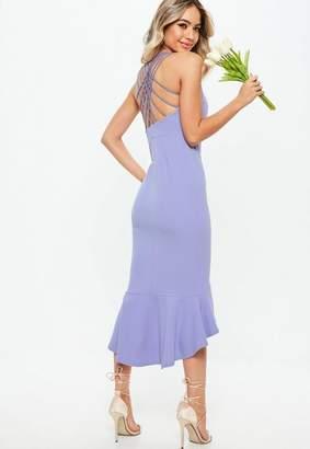 Missguided Bridesmaid Blue 90s Neck Strappy Fishtail Midi Dress