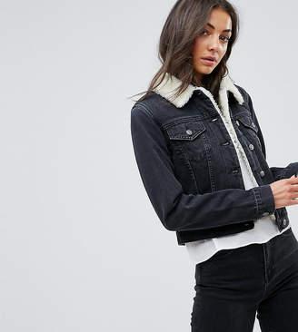 ASOS Tall ASOS TALL Denim Shrunken Borg Jacket in Washed Black