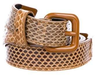 Bottega Veneta Snakeskin Skinny Belt