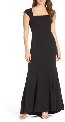 Eliza J Square Neck Scuba Crepe Evening Dress