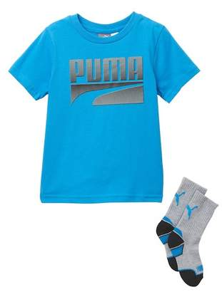 Puma Graphic Tee & Crew Socks Set (Little Boys)