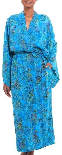 Ocean Eden Turquoise Batik Long Sleeved Rayon Robe with Belt