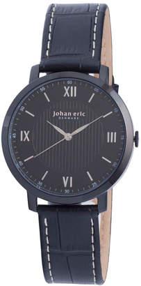 Johan Eric Men's Koge Quartz Black Leather Strap Watch