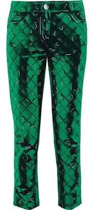 Moschino Cropped Printed Crepe Slim-Leg Pants