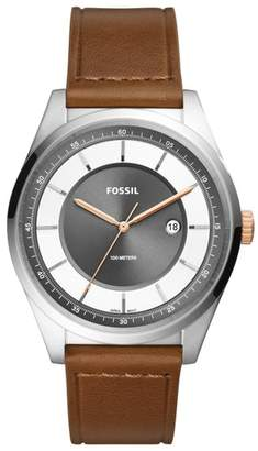 Fossil Mathis Leather Strap Watch, 44mm