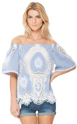 Hale Bob Noemie Off Shoulder Embroidered Top