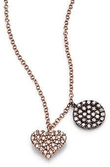 Meira T Women's Diamond & 14K Rose Gold Heart Pendant Necklace