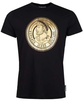 Versace Centre Foil Logo Slim Fit T-shirt Colour: BLACK,