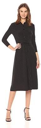Anne Klein Women's Dot Long Sleeve Button Down Dress