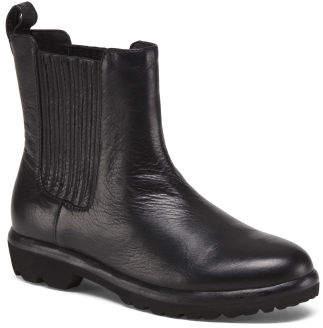 Nappa Leather Lug Sole Chelsea Comfort Boots