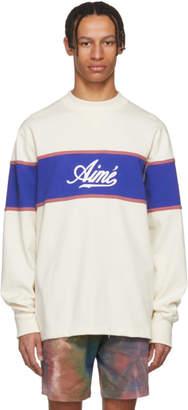 BEIGE Aime Leon Dore and Blue Rugby Sweatshirt