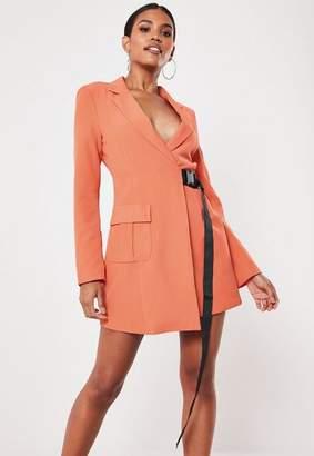 Missguided Orange Seatbelt Buckle Blazer Mini Dress