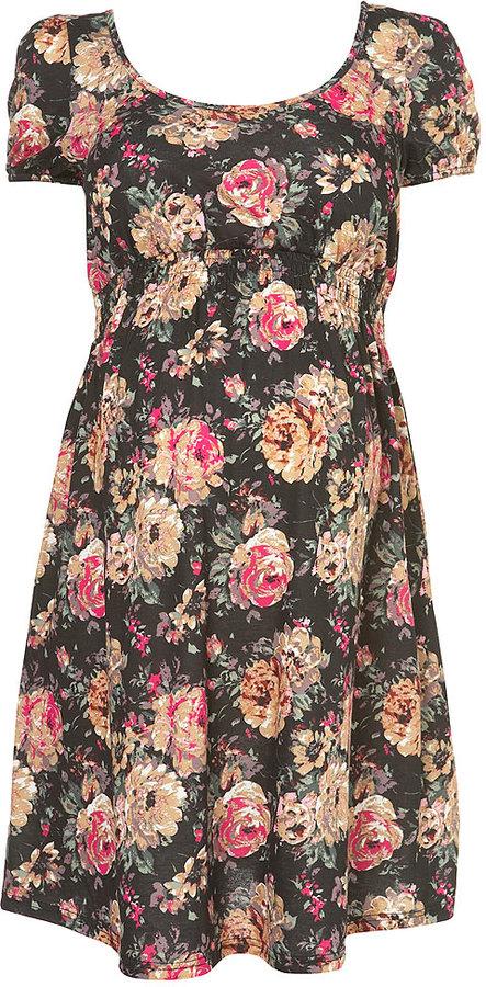 Maternity Rose Shirred Dress