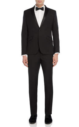 Kenneth Cole Reaction Two-Piece Black Notch Lapel Stretch Tuxedo
