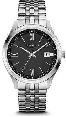 Bulova CARAVELLE Designed by Caravelle Men's Stainless Steel Bracelet Black Dial Dress Watch 41mm
