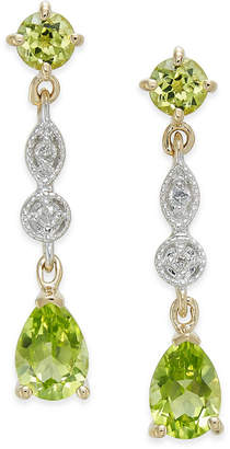 Macy's Peridot (2-1/3 ct. t.w.) & Diamond Accent Drop Earrings in 14k Gold
