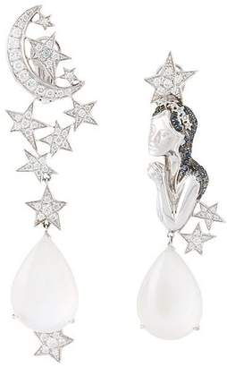 Lydia Courteille diamond and moonstone virgo earrings