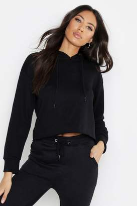 boohoo Raw Edge Cropped Sweat Hoody