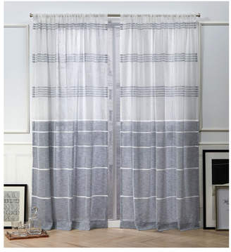 """Nicole Miller Wexford Embellished Stripe Rod Pocket Top 54"""" X 84"""" Curtain Panel Pair"""