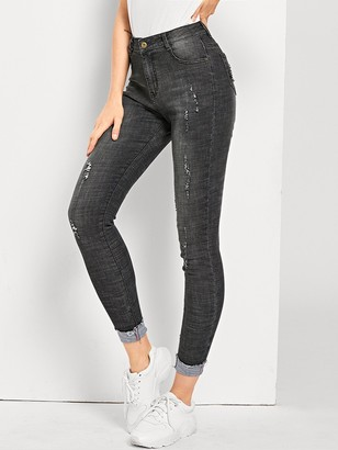Shein Ripped Faded Wash Jeans