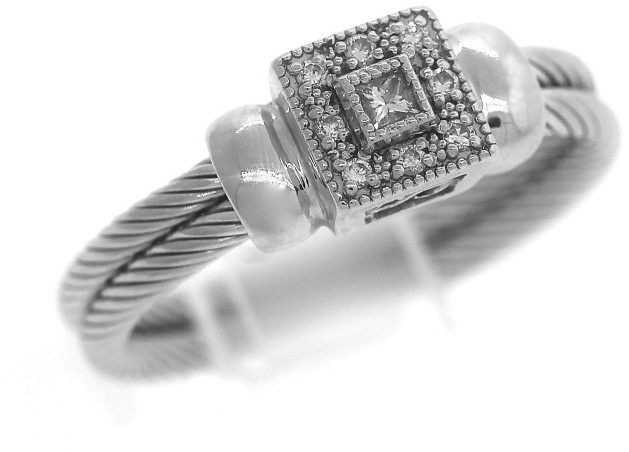 Charriol Charriol 18K 750 White Gold Double Cable Diamond Promise Ring