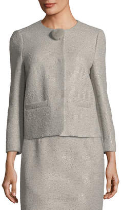 Escada Sequined Tweed Jacket with Fur Pompom