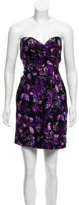Tibi Floral Print Strapless Mini Dress
