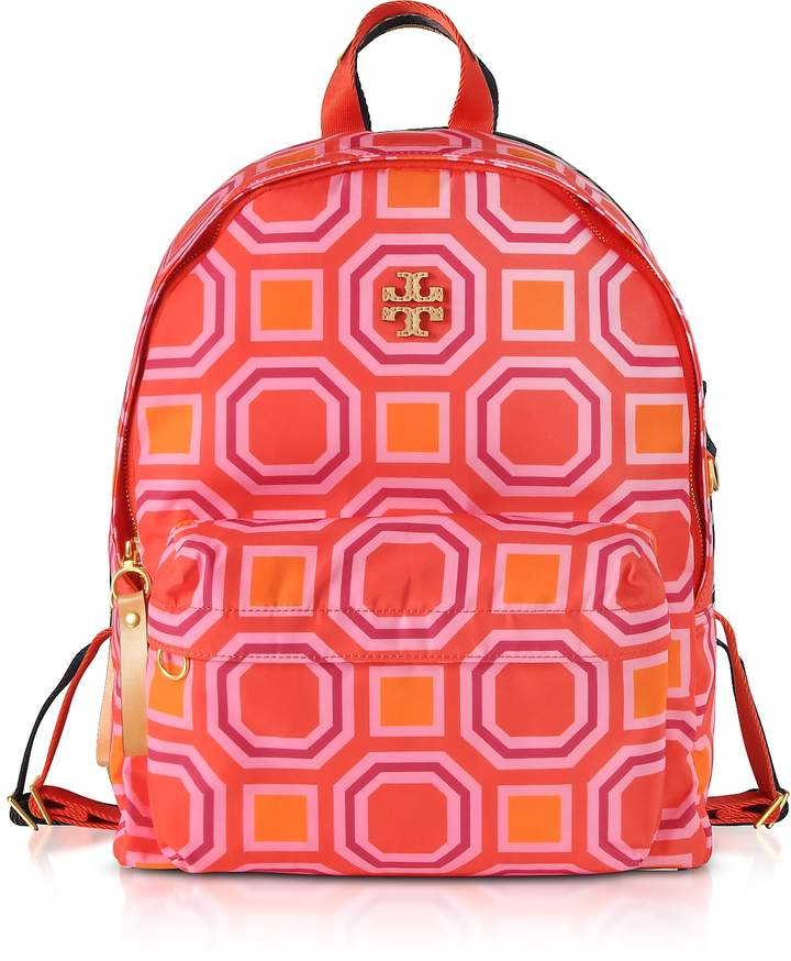 Tory Burch Octagon Square Print Nylon Backpack - VIVID ORANGE - STYLE