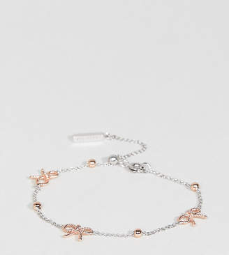 Olivia Burton Silver & Rose Gold Plated Bow & Ball Delicate Bracelet