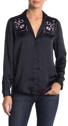 Lucky Brand Embroidered Satin Western Top