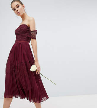 Asos Tall Design Tall Bridesmaid Premium Guipure Lace Panelled Midi Dress