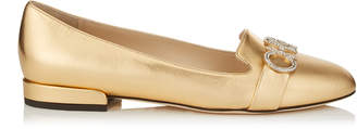 Jimmy Choo JADEN FLAT Gold Metallic Leather Round Toe Ballerinas