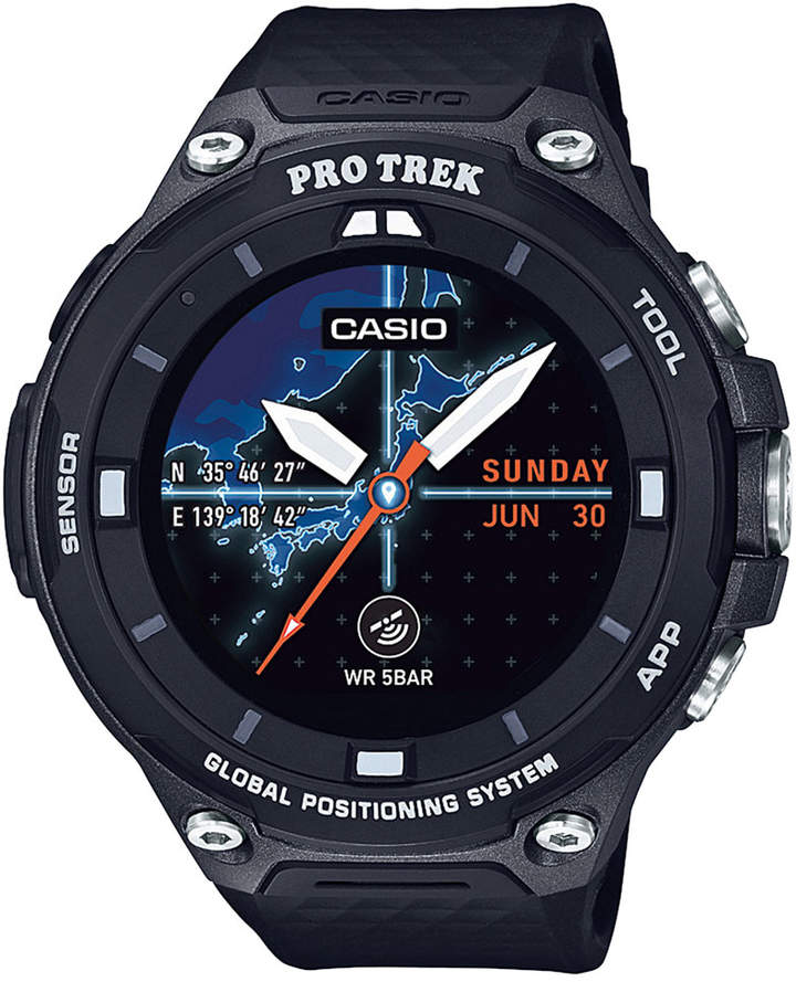 Casio Casio Men's Pro Trek Black Resin Strap Smart Watch 62mm WSD-F20BK