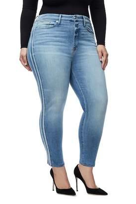 Good American Good Waist Athletic Stripe High Waist Ankle Straight Leg Jeans (Blue 121) (Regular & Plus Size)