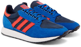 adidas Forest Grove Suede and Mesh Sneakers - Blue