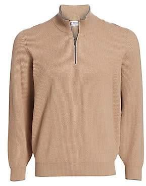 Brunello Cucinelli Men's Half Zip Rib-Knit Wool, Silk& Cashmere Sweater
