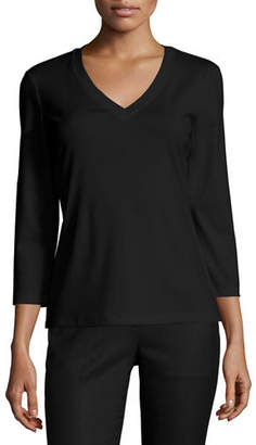 Lafayette 148 New York Stretch Cotton 3/4-Sleeve V-Neck Tee