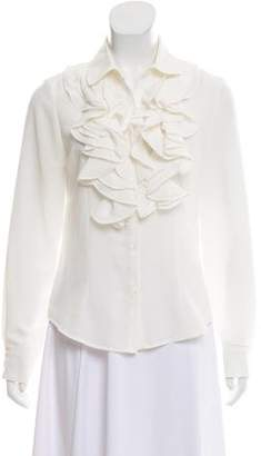Pink Tartan Ruffled Button-Up Top